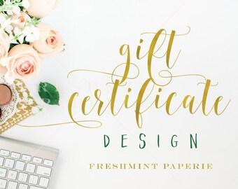 add business gift certificate design - gift certificate design - freshmint paperie