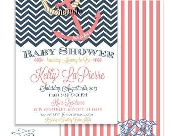 Printable invitations - Nautical invitation - Anchor Invitation - calligraphy - baby shower invitation - chevron - freshmint paperie