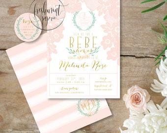 Printable invitations - lace invitation - bebe shower invitation - vintage lace invitation - baby shower - freshmint paperie
