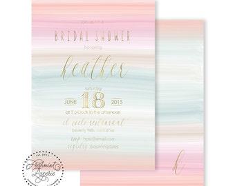 Printable invitations - bridal shower invitation - watercolor strokes  invitation - handwritten calligraphy - freshmint paperie
