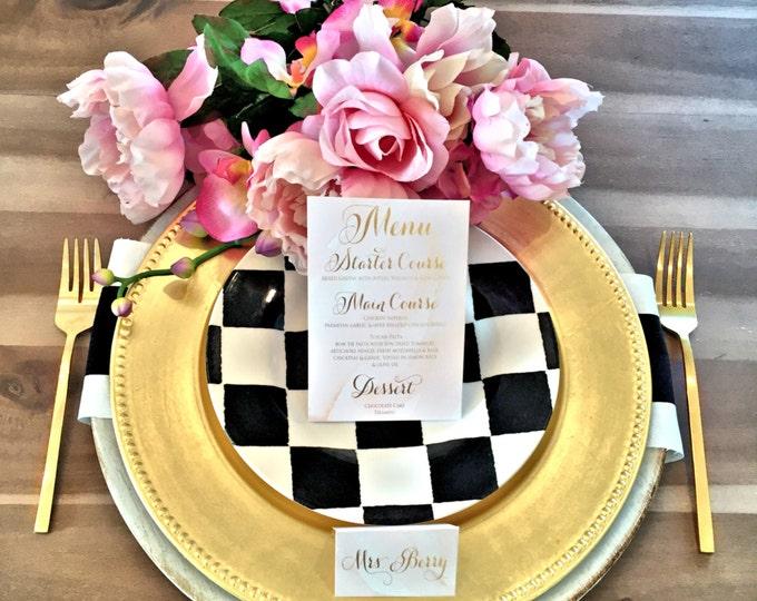 Printable menu cards - Custom menu - calligraphy Menu  - watercolor menu - Freshmint Paperie