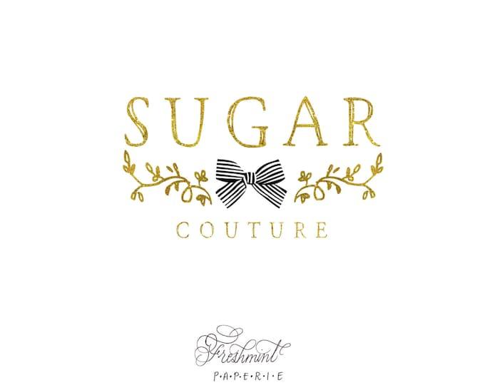 customized logo design - ribbon logo  - gold logo - business logo - business card - freshmint paperie