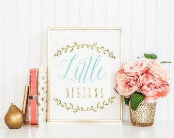 pre-made Custom logo -  laurel logo  - calligraphy logo - lace logo - business card - freshmint paperie