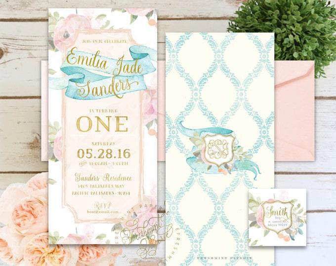 Printable invitations - girls floral invitation - vintage invitation - calligraphy - kids birthday invitation - freshmint paperie