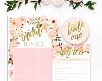 printable bridal advice card - bridal bingo - floral game card - watercolor - calligraphy - freshmint paperie