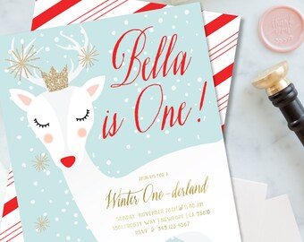 Winter ONEderland invitation | winter wonderland invitation | Rudolph invitation | Deer invitation | first birthday invitation | snow invite