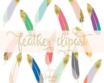 Feathers clipart - gold tip feathers clipart - boho feathers clipart - feather clipart - watercolor clipart - freshmint paperie