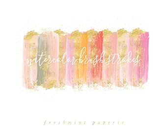 watercolor brush strokes clipart - gold brush clipart - paint clipart - pink & gold brush strokes - watercolor clipart - freshmint paperie