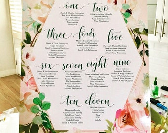 Printable seating chart - guest list - seating chart - watercolor seating chart - floral invitation - freshmint paperie