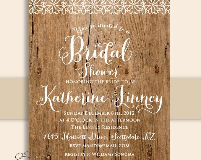 Wood invitations - rustic wood invitation - lace invitation - bridal shower invitation - Freshmint Paperie