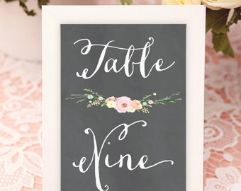 calligraphy chalk floral table numbers - table numbers - calligraphy floral table numbers - calligraphy - freshmint paperie