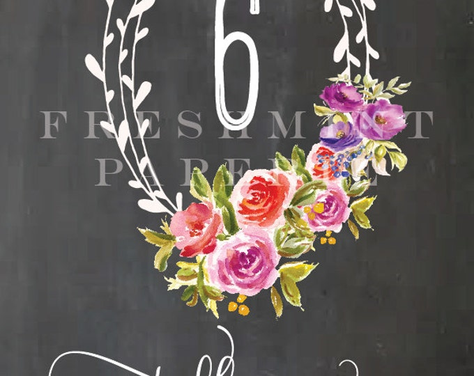 printable table numbers - table numbers - calligraphy table numbers - chalk background- freshmint paperie