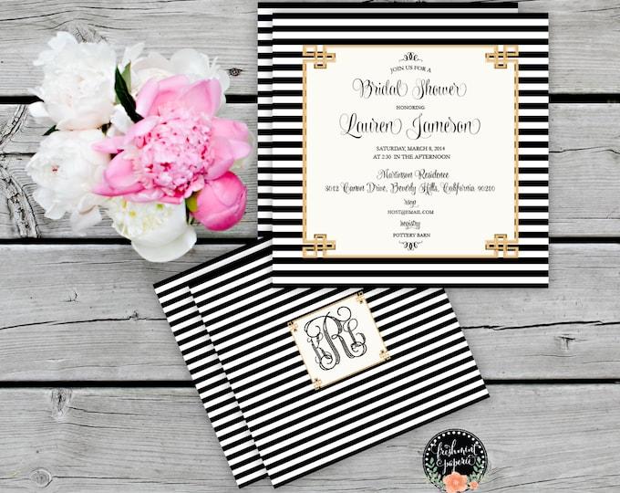 Printable invitations - bridal shower invitation - black & white stripes invitation - calligraphy - bridal invitation - freshmint paperie