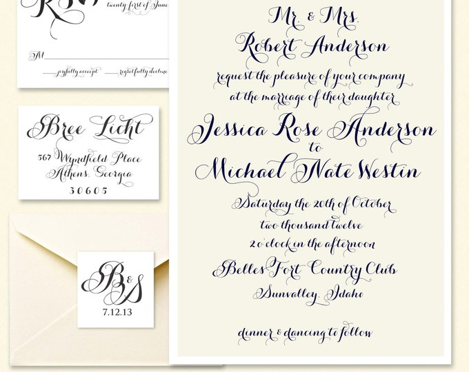 Printable invitations - wedding invitation - wedding invitation package - pretty invitation - wedding - freshmint paperie