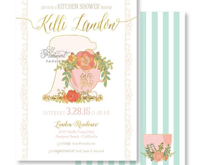 Kitchen Shower Invitation - Bridal Shower Invitation - Stock the Kitchen Invitation - culinary invitation - Monogram Invitation