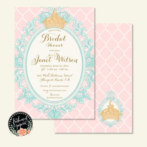 Bridal Shower Invitation - crown invitation - baby shower invitation - printable invitation - Royal Invitation - Pink & aqua invitation