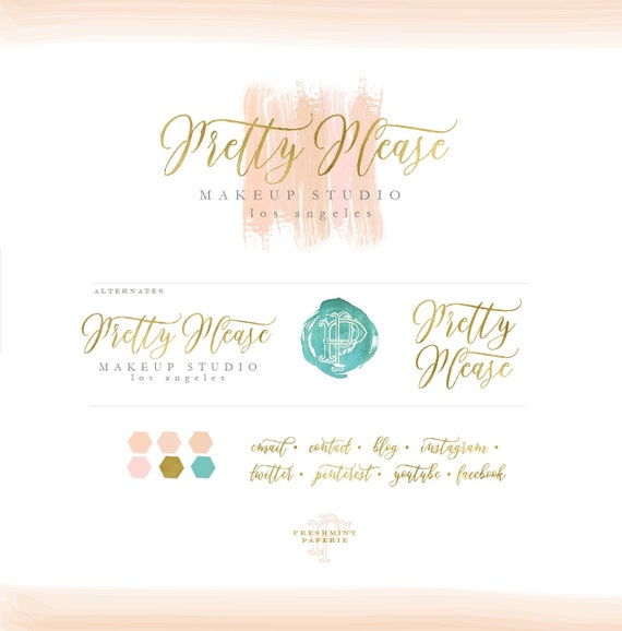 premade logo - watercolor logo - calligraphy logo - logo - painted logo - gold foil logo - brush strokes -  freshmint paperie