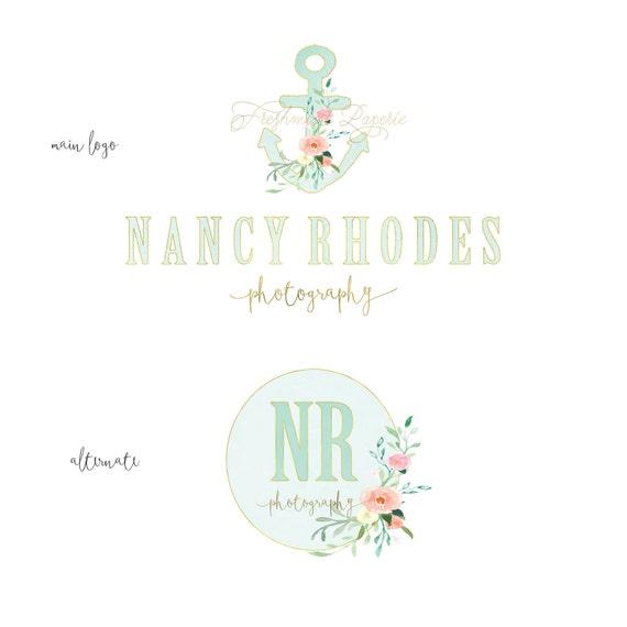 NAUTICAL logo -  logo design  - calligraphy logo - logo - anchor logo - watercolor logo -  freshmint paperie