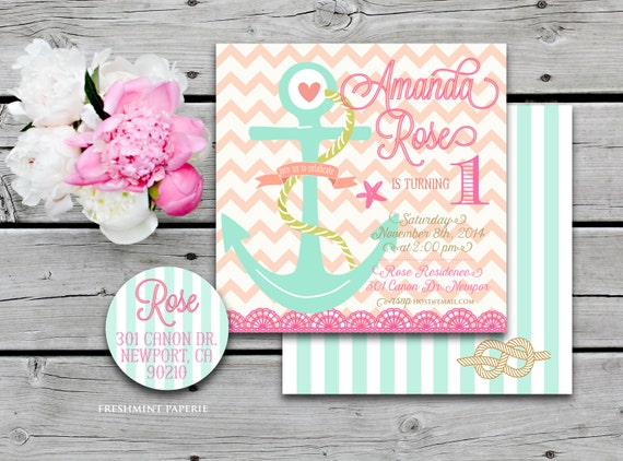 Nautical invitations - nautical invitations - girls nautical invitation - Ocean invitation - chevron invitation - girls birthday invitation
