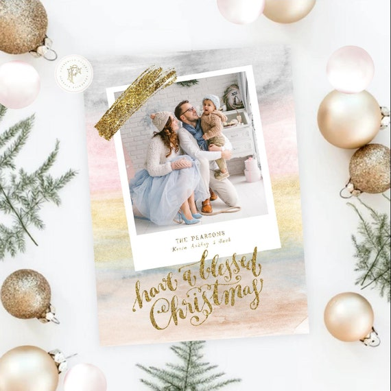 Printable Holiday Cards, Christmas card, Photo Christmas cards, Photo holiday cards, Pretty Holiday Cards, WATERCOLOR