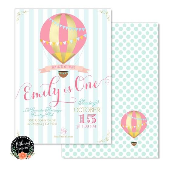 Printable invitations - hot air balloon invitation - balloon invitation - calligraphy - hot air balloon theme  - freshmint paperie