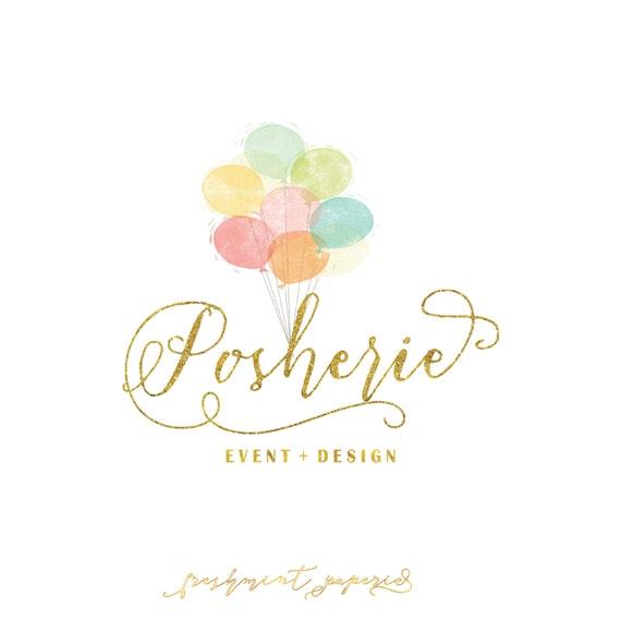 Custom pre-made logo -  logo design  - calligraphy logo - logo - balloons logo - blush & gold logo -  freshmint paperie