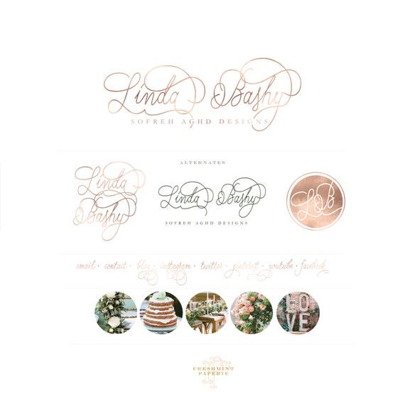 custom logo design -  rose gold logo  - calligraphy logo - metallic rose gold logo - sofreh aghd logo - business logo - freshmint paperie