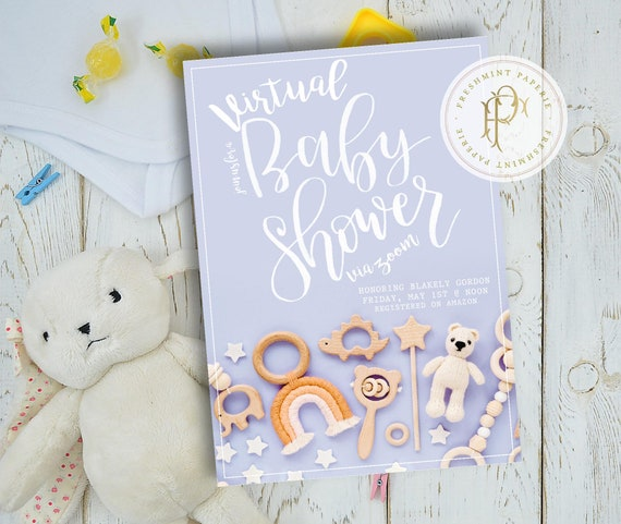 Virtual Baby Shower Invitation - Virtual Shower Invitation - Zoom baby shower invitation - Virtual Baby Shower - Rainbow - Baby Shower