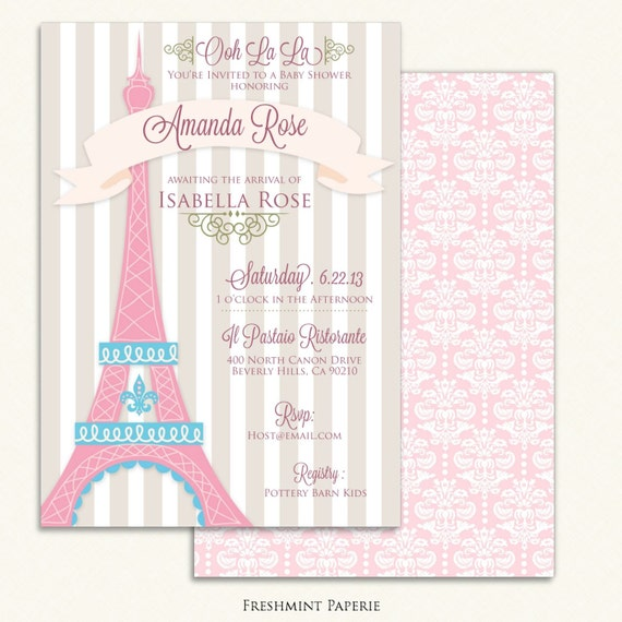 Paris invitations - baby shower invitation - parisian invitation - paris party - eiffel tower invitation - Paris baby shower invitation