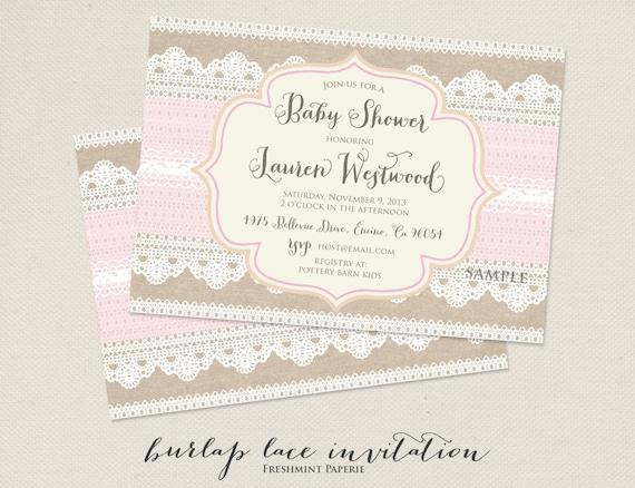 Printable invitations - burlap lace invitation - bridal shower Invitation - calligraphy - baby shower invitation - freshmint paperie