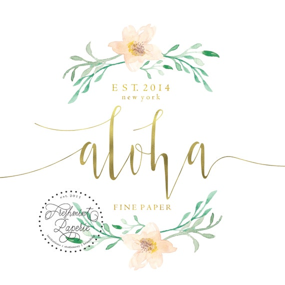 Pretty logo - gold logo design - calligraphy logo - magnolia logo - magnolia flower logo - watercolor leafs logo - watercolor logo