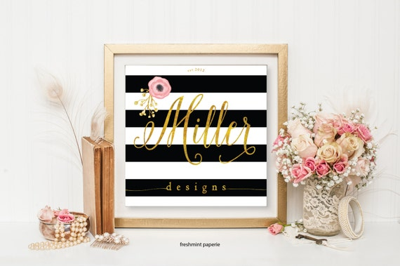 customized logo design -  black & white stripes logo  - calligraphy logo - gold logo - business card - freshmint paperie