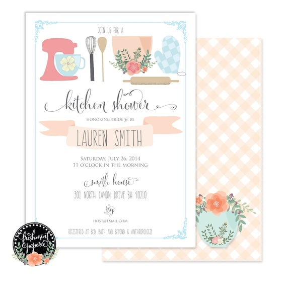 Printable invitations - bridal shower invitation - kitchen shower invitation - calligraphy - kitchen invitation - freshmint paperie