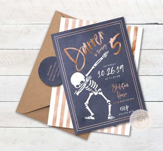 Skeleton invitation Skeleton invite Floss invitation Dance party Invitation skeleton dancing invitation floss Birthday halloween