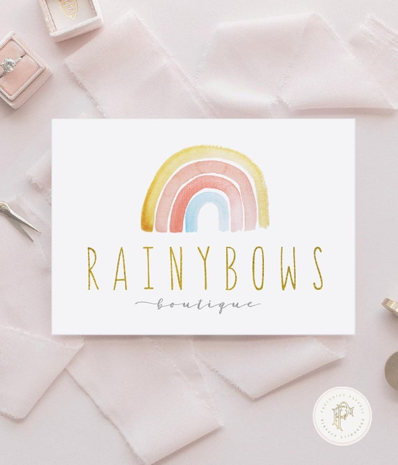 Rainbow Logo - Rainbow Logo design - Watercolor Rainbow logo - Branding - Children's Boutique Logo - Rainbow logo
