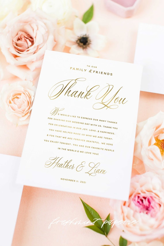 Thank you cards - Custom cards - calligraphy cards  - pretty cards - Stationery - Wedding Thank you card