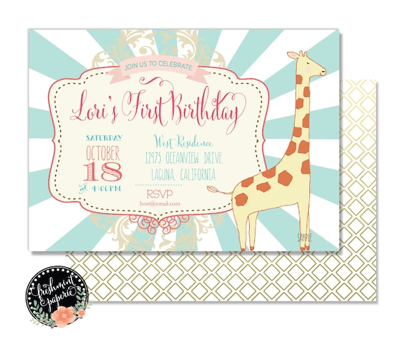 Carnival invitation - GIRAFFE invitation - zoo invitation - giraffe birthday invitation - giraffe party - circus invitation - zoo invite