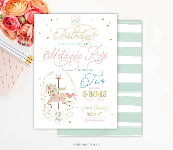 Carousel birthday invitation - carousel invitation - birthday invitation - confetti invitation - girls carousel - horse invitation
