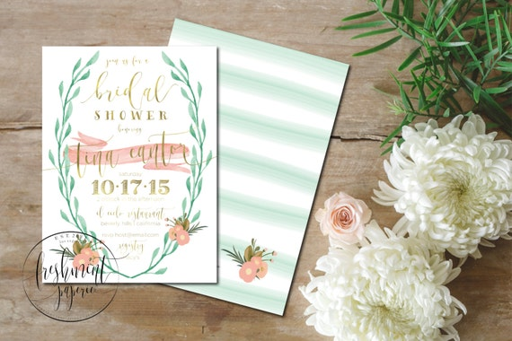 Printable invitations - bridal shower invitation - watercolor Invitation - calligraphy -  mint coral invitation - freshmint paperie