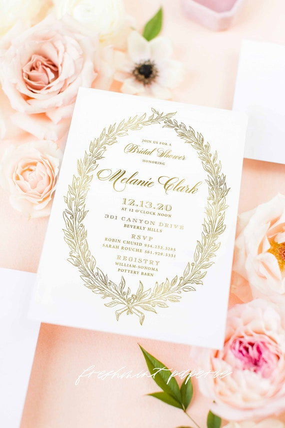 Laduree invitation - Bridal Shower Invitation - Pink stripes invitation - Laduree Bridal Shower invitation - Gold Invitation