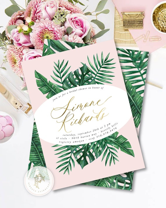 Tropical invitation - banana leaf invitation - Pink & Green invitation - palm leaf invitation - martinique invitation