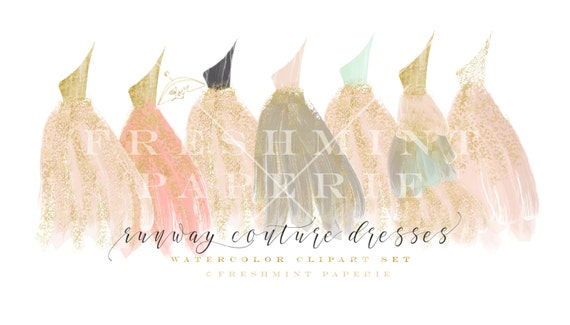 watercolor dresses - dress clipart -  flowingdress clipart - watercolor clipart - runway dress clipart- couture dresses - freshmint paperie