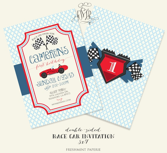 Printable invitations - race car party package - racing  invitation - sports car - car invitation - freshmint paperie