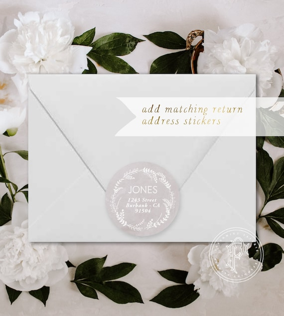 Return Address Stickers - ADD return address stickers - Digital or Printed - Freshmint Paperie - Pretty Invitations
