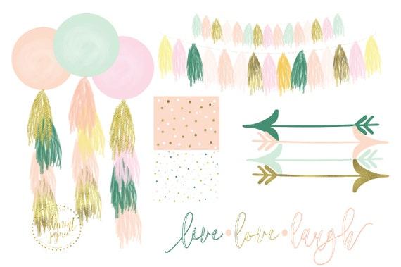 watercolor boho tassels clipart - watercolor garland clipart - tassel & garland clipart - balloons clipart - freshmint paperie