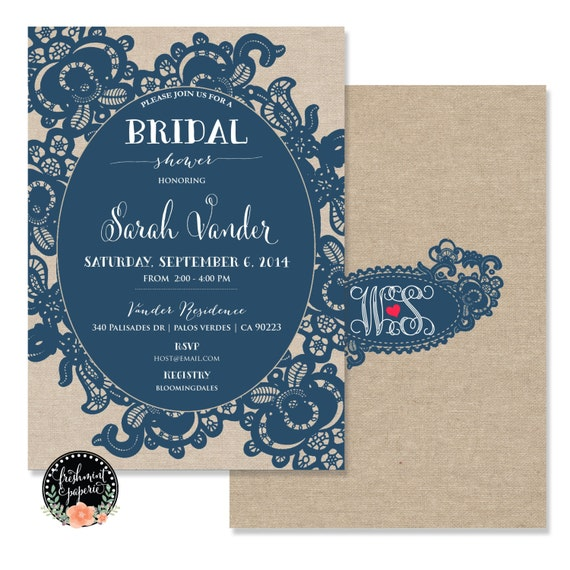 Printable invitations - bridal shower invitation - navy lace Invitation - calligraphy - burlap invitation - freshmint paperie