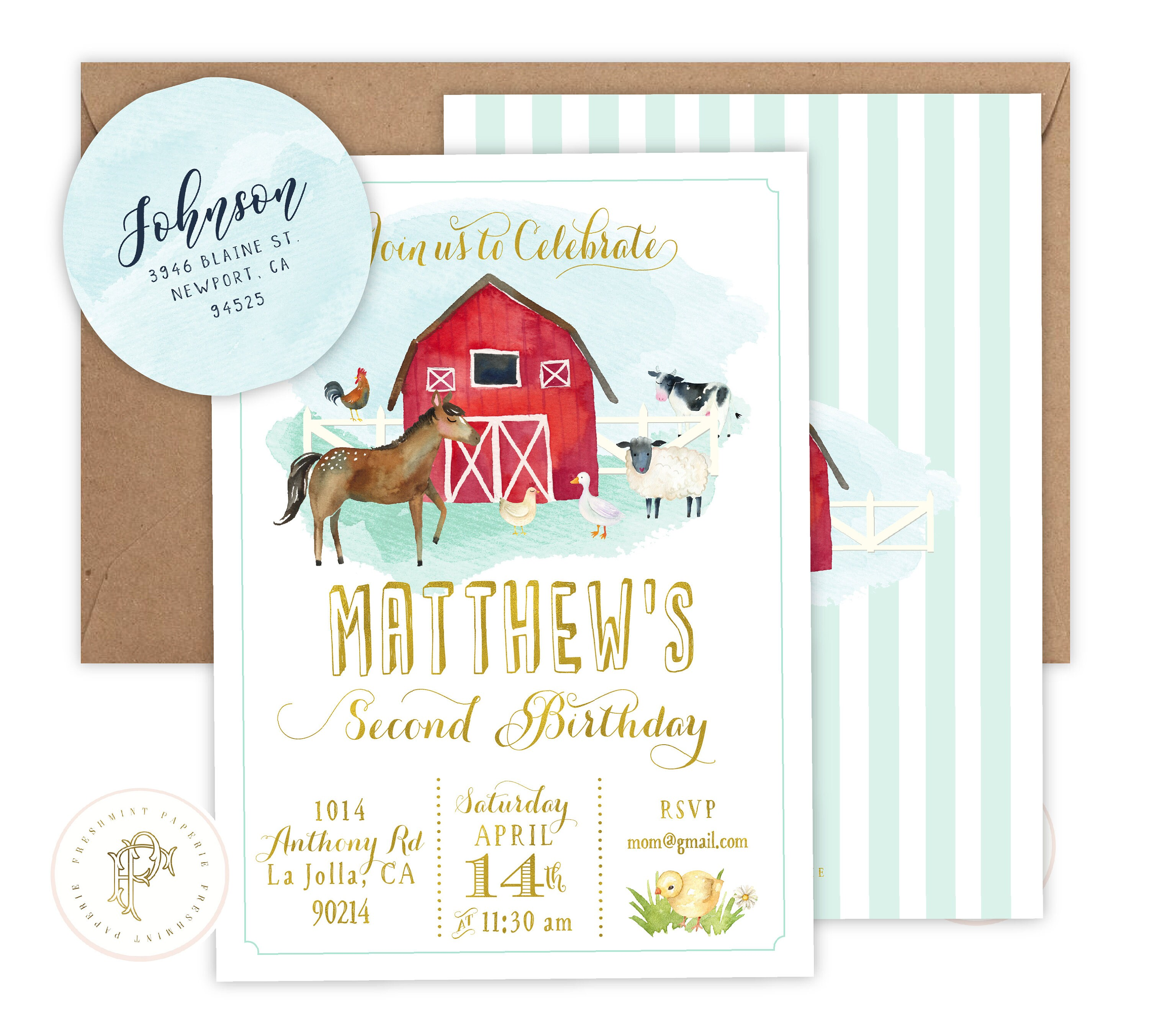 Barnyard invitation - farm invitation - barnyard birthday invitation ...