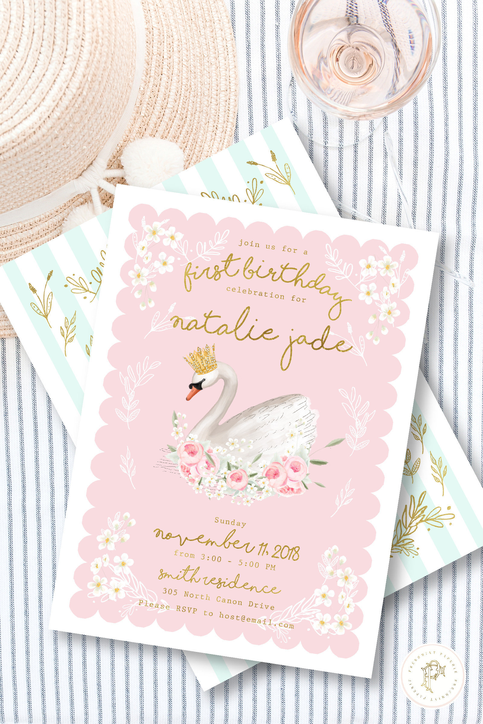 Swan Birthday Invitation Princess Party Invite Invites
