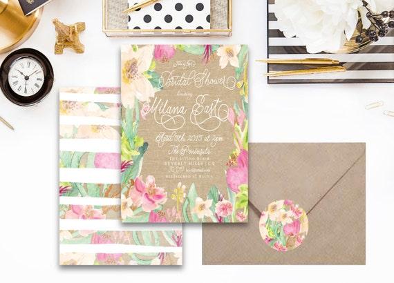 Printable invitations - bridal shower invitation - burlap & floral invitation - watercolor floral invitation - freshmint paperie