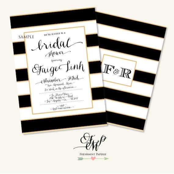 Printable invitations - black & white stripes invitation - bridal shower Invitation - calligraphy - stripes invitation - freshmint paperie